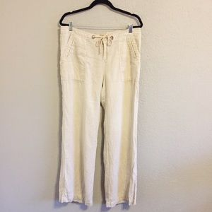 Joie Khaki Natural Drawstring Linen Wide Leg Pants